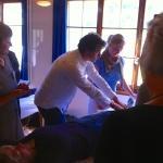 Demonstarting Shiatu on the Table at Kiental